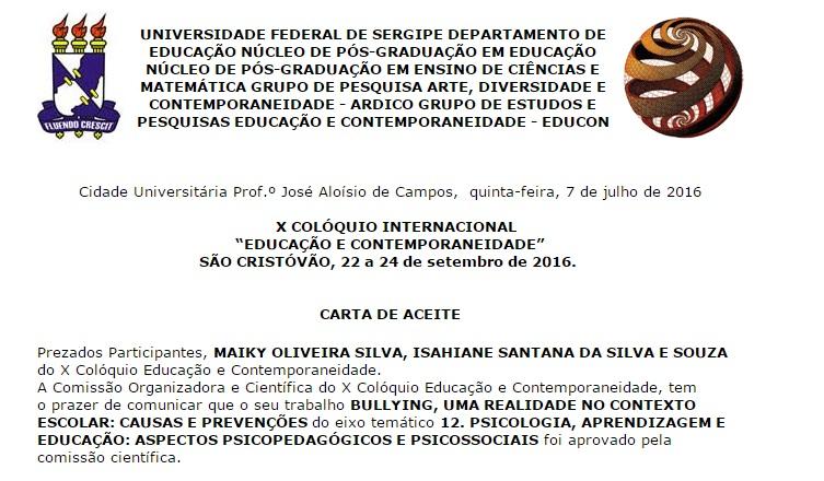 Carta de aceite emitida pela comissão técnica do X EDUCON.