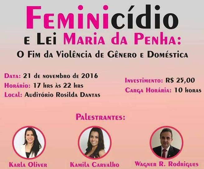 O evento discutirá violência doméstica e de gênero.